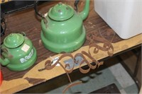 Lot of 3 Enamel Coffee Pots & Pantry Decor