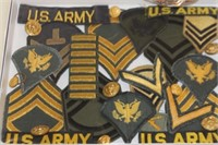 Display Case of Military Patches,Buttons,etc