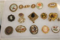Display Case of Brooches