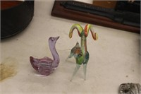 2 Art Glass Figures