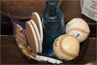 Various Baseballs,Safety Glasses,Glassware,etc