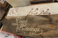 Wooden Count Your Blessings & Cotton Decor