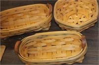 Lot of 3 Small Longaberger Baskets