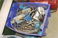 Tote of Various Electrical Supplies