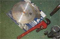 Lot Saw Blades & Pipe Wrench