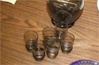 Small Glass Decanter & 6 Glasses