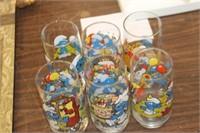 6 Vintage Smurf Glasses