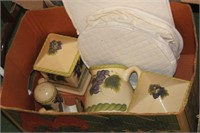 Box of Canisters,Pitcher,etc