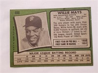 1971 Topps San Fransico Giants Team Willie Mays