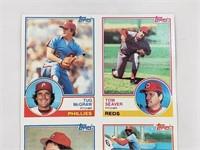 1983 Topps Uncut Sheet Of Baseball Cards W/ RC
