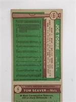 1976 Topps Uncut Sheet Hank Aaron Seaver Torre