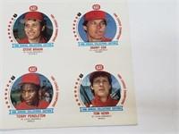 UNCUT Sheet of St Louis Cardinals 1986 KAS Discs