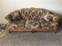Floral Couch with Oak Trim