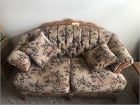 Floral Loveseat with Oak Trim