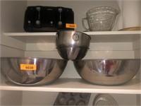 2) Large Metal Bowls, 2) Small Metal Bowls