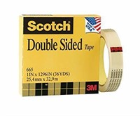 Scotch Permanent Double Sided Tape, 1 Roll, 1""