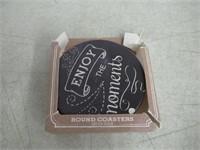 Angelstar 13422 Chalkboard Round 4 Piece Coaster