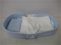 Labebe 2-in-1 Toddler Bed Crib, Blue Baby Bed up