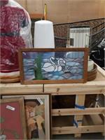 Leaded glass Swan panel