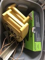 Bin with converter box, cord reels light etc