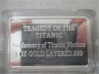 1oz Gold Layered .999 Titanic Bar