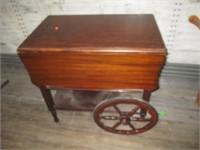 Drop Side Wood Cart with Wheels, Silverware