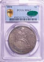$1 1854 PCGS MS63 CAC