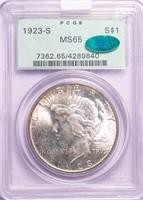 $1 1923-S PCGS MS65 CAC
