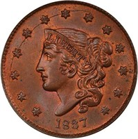 L1C 1837 SMALL LETTERS. PCGS MS65+RB CAC
