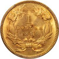 G$1 1886 PCGS MS66+ CAC