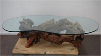 Driftwood Cypress Root and Glass Coffee Table