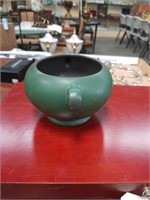 Green pottery vase made by floraline