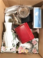 Box vases & misc silver plated