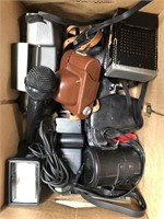 Box of vintage cameras and lens
