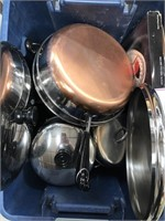Bin with revere pots and pans, silver plated