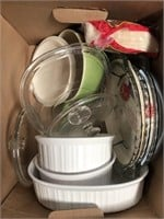 Box of pie dishes and casserole dishes