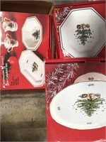 Box of Christmas dishes