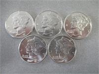 5) .999 Fine Silver Pieces