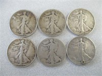 6) Walking Liberty Half Dollars (1934, 1935, 1944