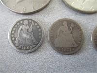 4) Seated Liberty Dimes, 2) 1964 Kennedy Half