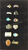 12 Size 8 Rings Marked Sterling Semiprecious