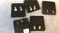 9 Pr Carded Clip-on Earrings