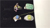 12 Size 9 Rings Marked Sterling Semiprecious