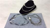 5 Sterling Rhinestone CZ Necklaces