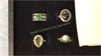 12 Size 5 Rings Marked Sterling Semiprecious