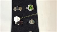 12 Size 4 Rings Marked Sterling Semiprecious