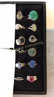 12 Size 10 Rings Marked Sterling Semiprecious