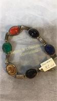 Scarab Bracelet 3 Pins Jade Sterling Jasper