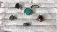 6 Size 13 Rings Sterling Jade Labradorite
