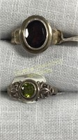 12 Size Rings Marked Sterling Semiprecious